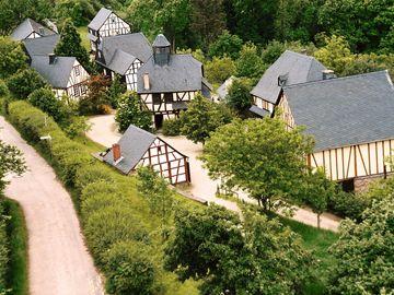 Ansicht auf das Freilichtmuseum Roscheider Hof in Konz.